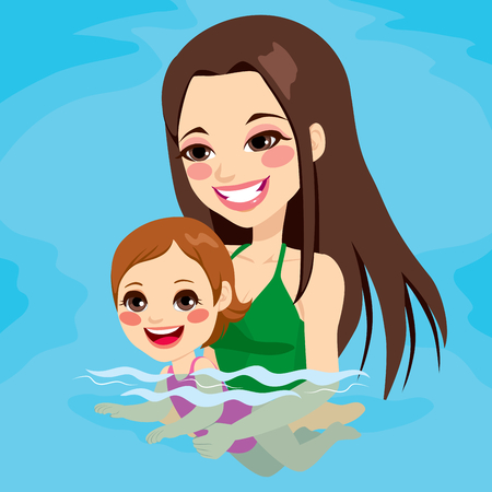 mother holding baby: Beautiful brunette mom at swimming pool teaching her baby girl how to swim Illustration