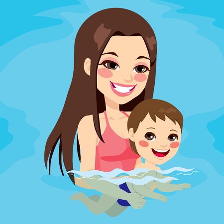 Beautiful brunette mom at swimming pool teaching her baby boy how to swim