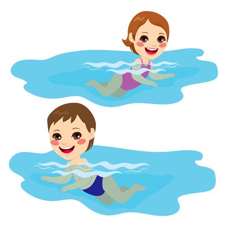 enfant maillot de bain: Bébé garçon et petite fille piscine seul heureux