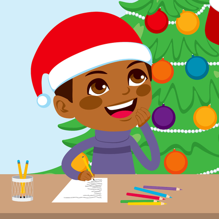 writing letter: Cute little black kid boy writing Christmas letter to Santa Claus Illustration