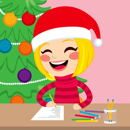 wishlist: Cute little happy blonde girl writing in paper her wishlist for Christmas presents