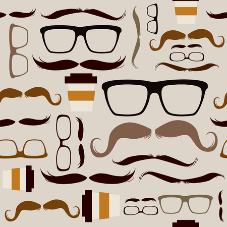 Seamless pattern background with different hipster glasses mustaches elements Vector