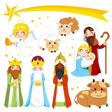 baby jesus: Set collection of isolated cartoon Christmas Nativity manger design elements