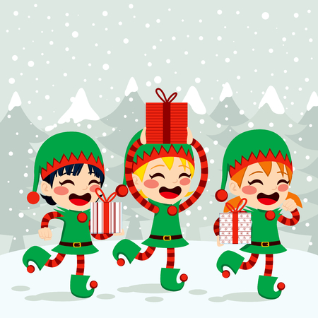 elves: Christmas Santa helpers elves carrying presents on snow background