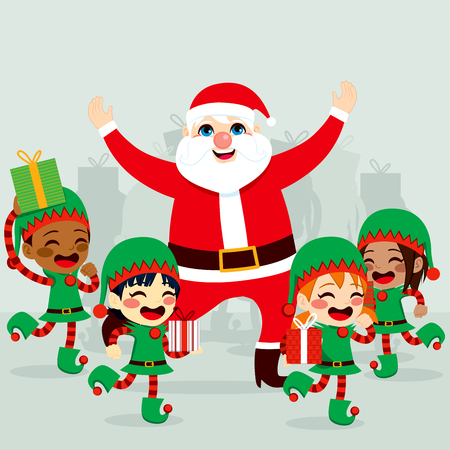 Santa Claus with little helper elves dancing around and preparing gifts to deliver on Christmas day Vector