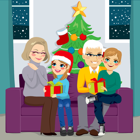 old sofa: Grandparents with granddaughter and grandson sharing gifts in Christmas day sitting on sofa at home with tree on background