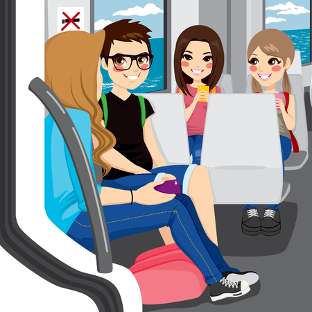 Young teenagers commuting by train sitting talking and communicating with their smartphones