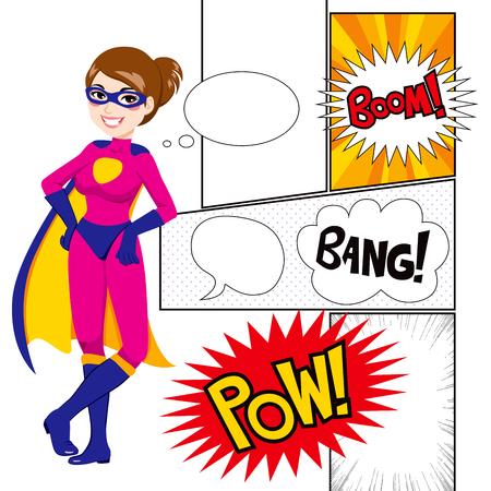 tiras comicas: Hermosa mujer s�per h�roe con paneles de comics y globos de di�logo Vectores
