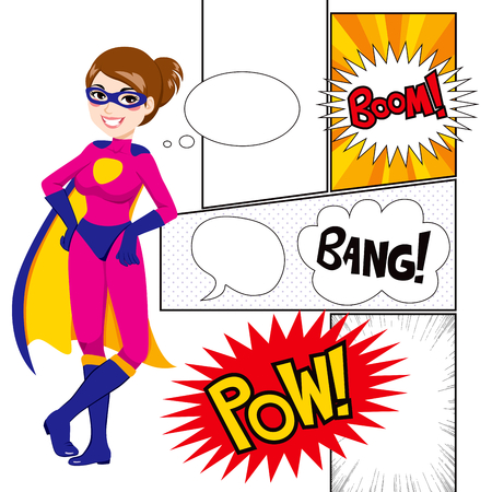 Beautiful super hero woman with comics panels and speech balloons
