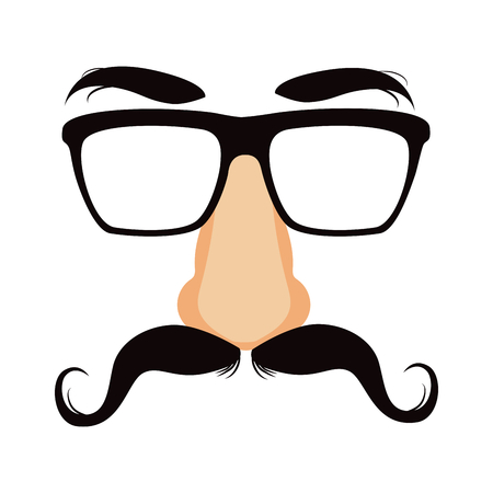 Funny disguise mask with glasses, big fake nose, mustache and heavy eyebrows Vector