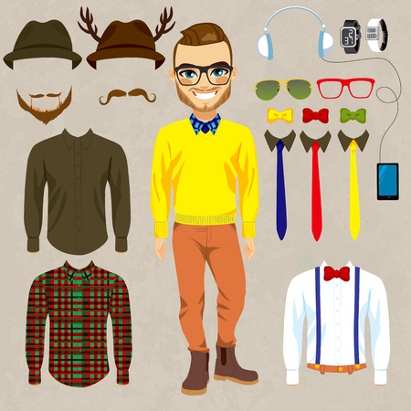cartoon doll: Fashion dress up doll man with hipster clothes, accessories, hats and mustaches to combine