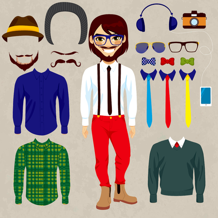 Fashion dress up doll man with hipster style clothes, camera, accessories, hats and mustaches to combine Vector