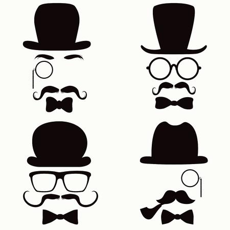 bigote: Colección de gente de la silueta de estilo vintage cabezas con sombreros, bigotes, monóculos, vasos y lazos
