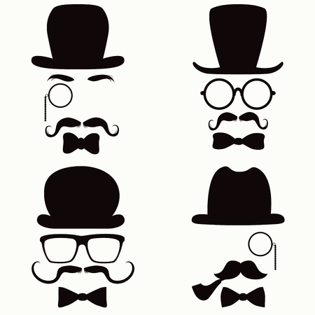 Collection of vintage style silhouette people heads with hats, mustaches, monocles, glasses and ties Vector