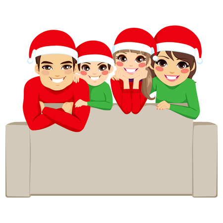 Happy family on Christmas day posing for portrait with Santa Claus hats Vector