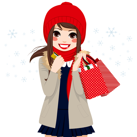 woman credit card: Beautiful brunette girl shopping on Christmas winter day holding credit card and bags full of gifts and presents Illustration