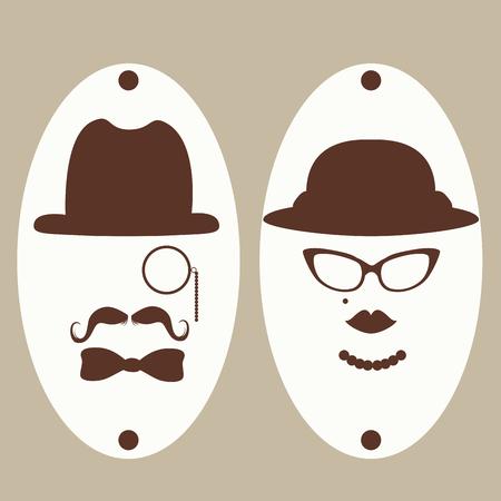 simbolo uomo donna: Retro signori vintage e simboli segno signore toilette Vettoriali