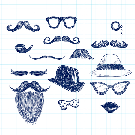 Funny blue color hipster doodle elements on paper sheet background Vector