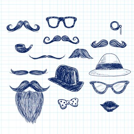 Funny blue color hipster doodle elements on paper sheet background Vector