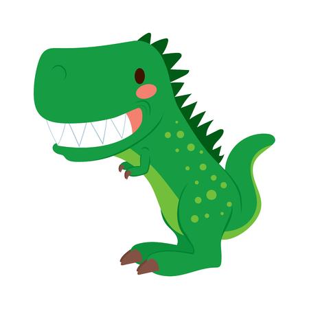 cartoon t rex: Funny green cartoon T-rex dinosaur toy showing teeth