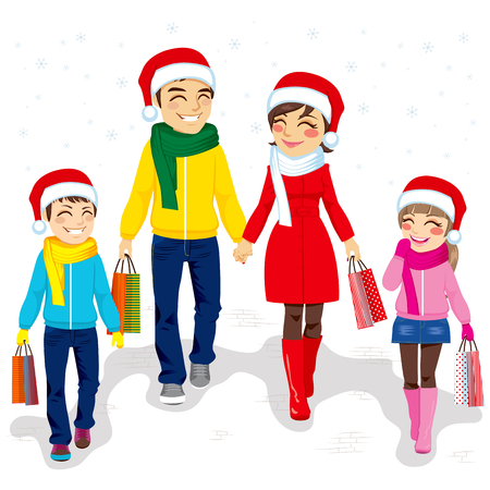 man full body: Happy family going Christmas shopping together with Santa Claus hats and holding bags Illustration