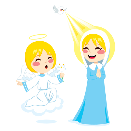 incarnation: Little angel Gabriel announcing the birth of Jesus to Virgin Mary holding white flower Illustration