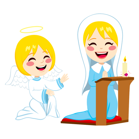 Mary praying happy and angel Gabriel bringing good news about Jesus birth Vector