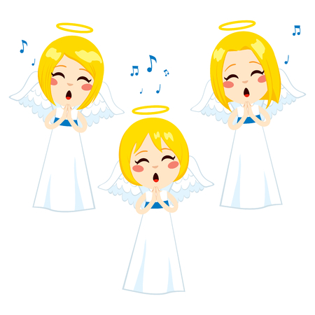 caroler: Three cute little blonde angels singing with long white tunics