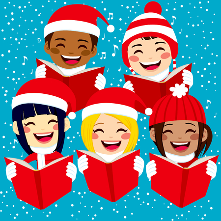 Five cute happy children singing Christmas carols with snowflakes and notes on background