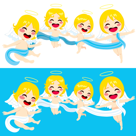 angelic: Four cute little angels flying together united with long cloth Illustration