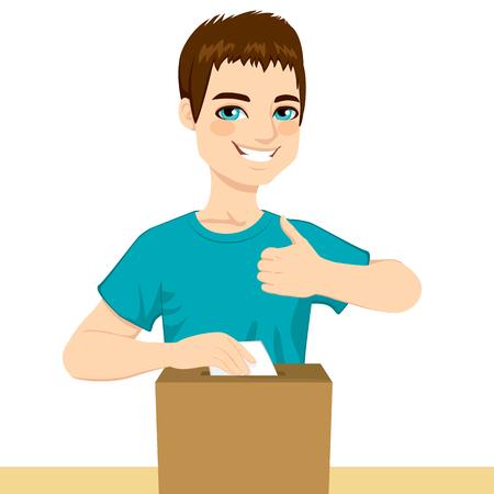 Jonge gelukkig man stemmen over politieke beslissing invoegen stemming over poll box en met duim omhoog op verkiezingen dag