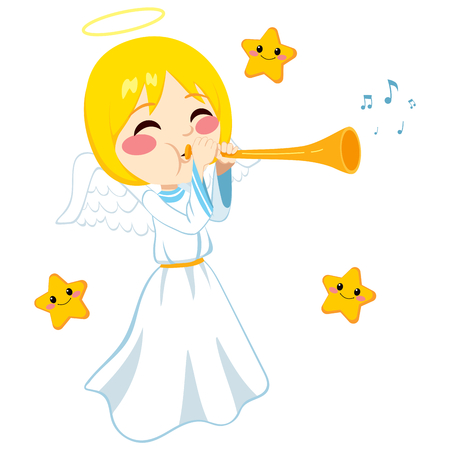 sounding: Blonde angel playing music sounding trumpet surrounded by tiny cute stars Illustration