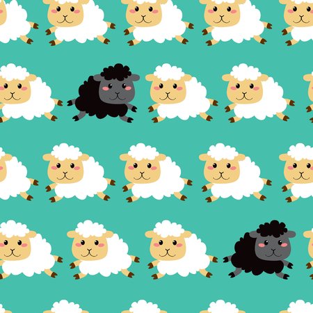 flock: Cute white and black sheep running seamless pattern background design Illustration