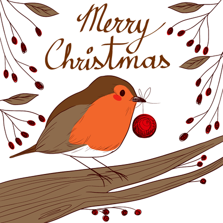 Cute little robin bird holding red bauble with beak in Christmas day