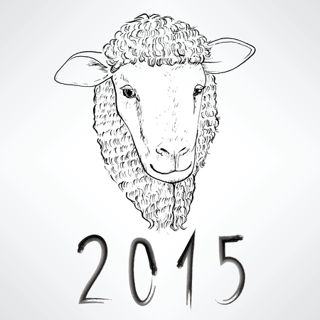 Black Ink Realistic Sheep Portrait Drawing With 2015 Text For Royalty Free Cliparts Vectors And Stock Illustration Image 33655498