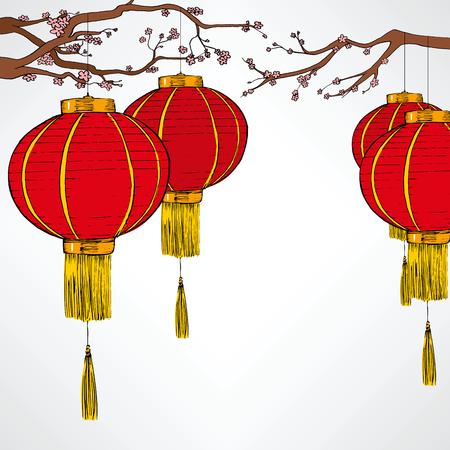 Traditionele Chinese rode lantaarn decoratie elementen voor nieuwe maanjaar viering hangen van de kersenboom