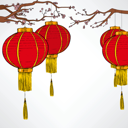 Traditional Chinese red lantern decoration elements for lunar new year celebration hanging from cherry tree Illustration