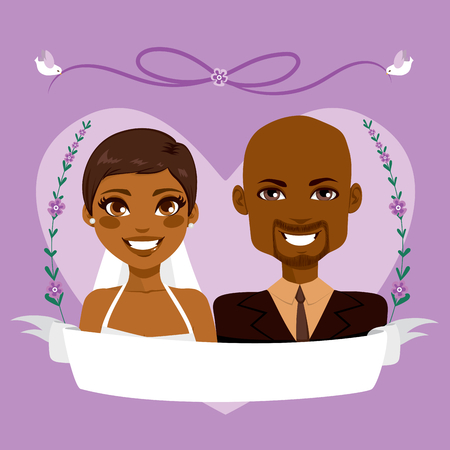 Beautiful purple Save The Date design composition showing African American couple portrait with empty banner and birds holding lace
