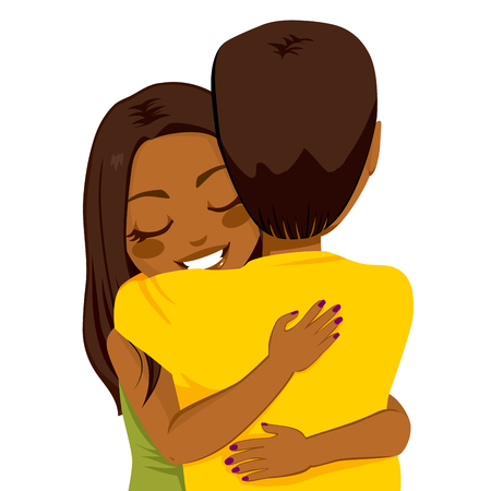 Beautiful young African American woman hugging man with tender love and passion