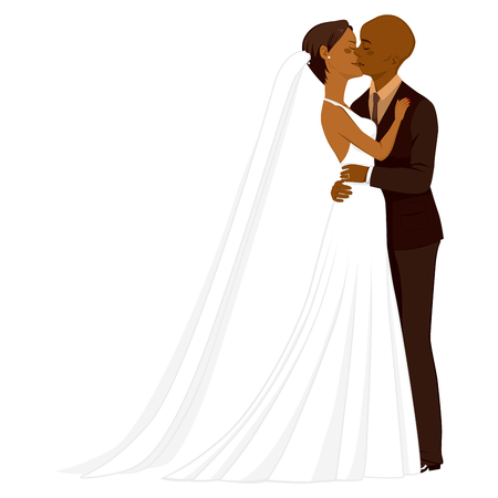 african cartoon: Beautiful young African American couple tenderly kissing on their wedding day