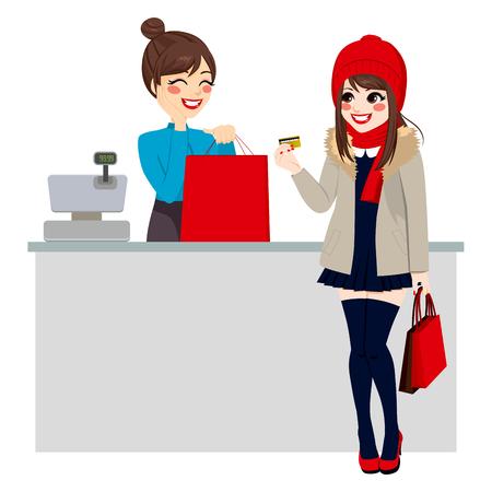 가게 점원은 쇼핑 가방을 준비하는 동안 젊은 아름 다운 갈색 머리 여자 신용 카드로 구매를 지불 일러스트