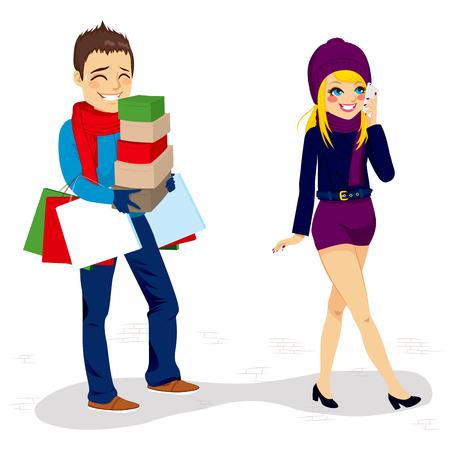 comprando zapatos: Fatigado novio caminando con bolsas de compras y cajas de su novia mientras ella está hablando por teléfono
