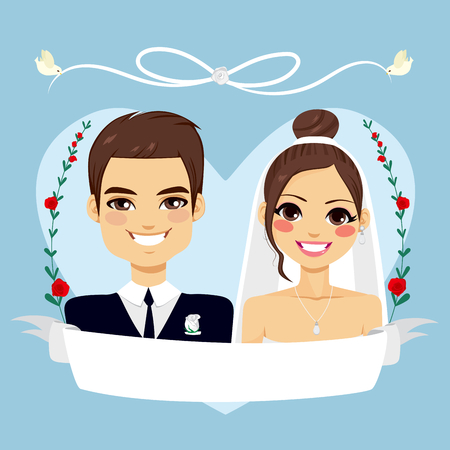 engagement cartoon: Beautiful blue Save The Date design composition showing brunette couple portrait with empty banner and birds flying holding white lace
