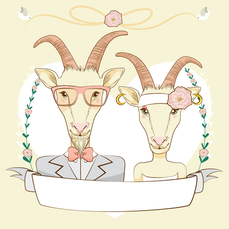 anthropomorphic: Hipster style Save The Date design composition showing anthropomorphic goat couple portrait with empty banner and birds holding lace
