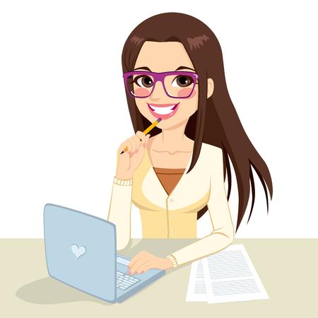 Belle brune pensive bureau secrétaire femme portant des lunettes de taper sur son ordinateur et tenant un crayon dans sa main Vecteurs