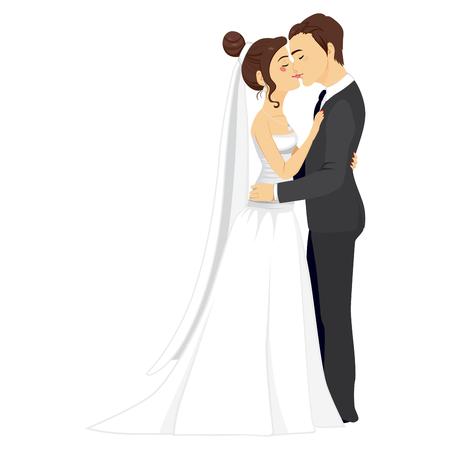 Hermosa joven pareja besándose tiernamente juntos en su día de la boda Ilustración de vector