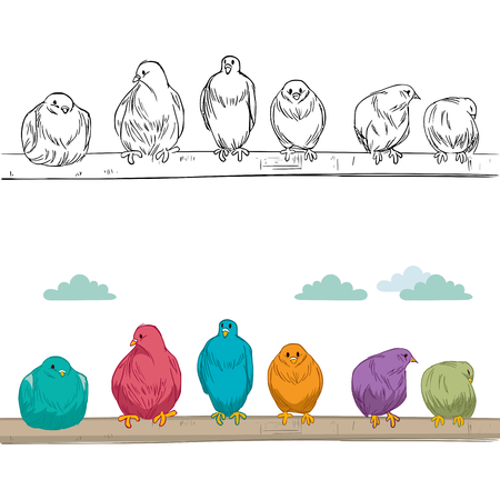 perched: Cute group of birds of different color perched on branch resting and watching alert Illustration