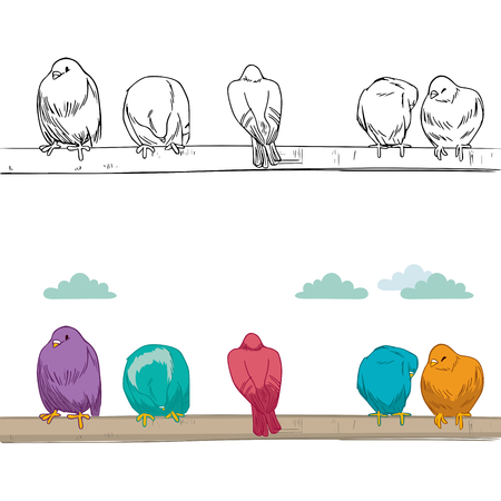 perched: Cute group of birds of different color resting perched on branch grooming and cleaning