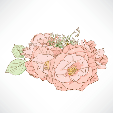 red rose bouquet: Beautiful red rose bouquet design composition in soft pastel colors