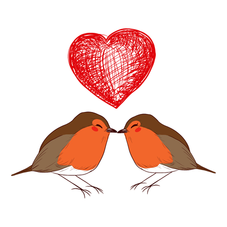 heart under: Cute little male and female robin birds in love kissing under big red heart doodle Illustration